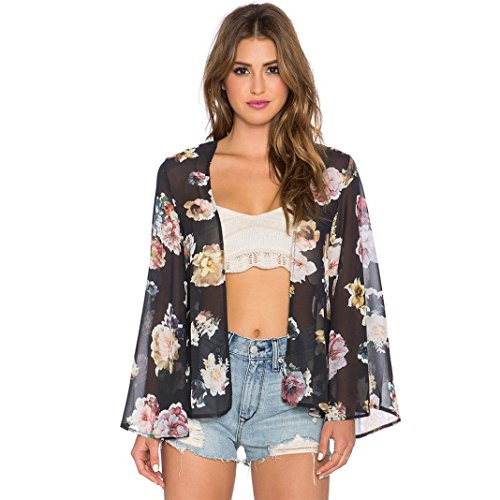 Perman Women Floral Printed Short Shawl Kimono Cardigan Tops Cover up Blouse (XL)