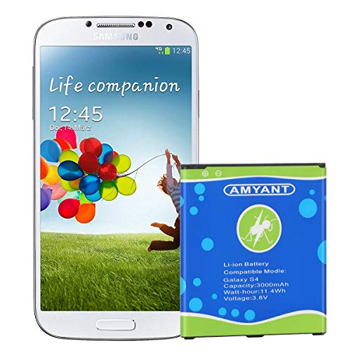 Galaxy S4 Battery Amyant 3000mAh Li-ion Battery Replacement for Samsung Galaxy S4, AT&T I337, Verizon I545, Sprint L720, T- Mobile M919, R970, I9500, I9505, Galaxy S4 LTE (NOT for Galaxy S4 Active