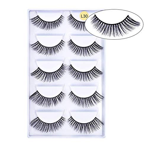 (5 pairs 3D Mink Eyelashes Natural False Eyelashes 13style Lashes Soft Fake Eyelashes Extension Makeup Kit Cilios,L30)