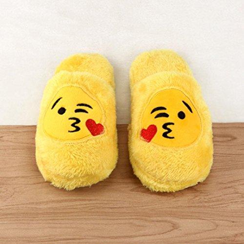 SMARTLADY Unisex Emoji Emoticon Zapatillas de Casa Otoño Invierno Creativo Pantuflas de Felpa Zapatos Amarillo - 1