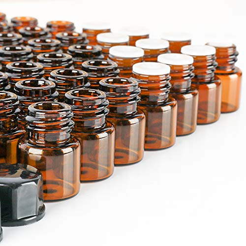 100 pack 2 ml 5/8 Dram Mini Amber Glass Dram Bottles Sample Bottles with Orifice Reducer and Black Caps for Essential Oils,Chemistry Lab Chemicals,Colognes & Perfumes.5 plastic droppers as gift.
