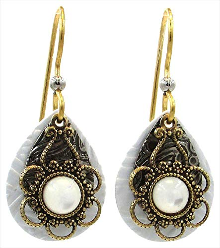Silver Forest Filigree Overlay Teardrop Earrings One Size White/gold tone