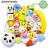Squishies Toy Kawaii Squishy 20 Pcs Set Scented Slow Rising Party Gift EDC Stress Reliever Random Jumbo Medium Mini With Phone Straps Cake/Panda/Bread/Buns/Donuts For Adults and Kids Prime By Ombrace