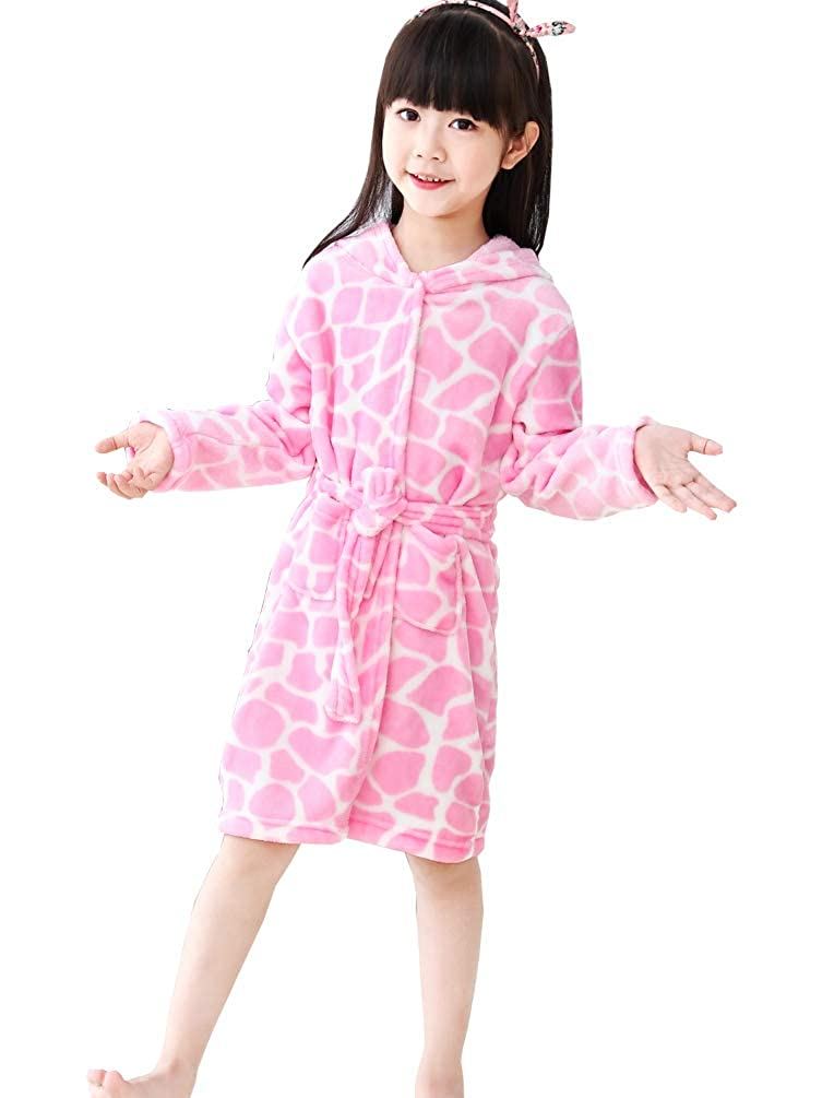 Chicone Kid's Coral Fleece Unicorn Hooded Bathrobe Fluffy Sleep Robe Boys Girls
