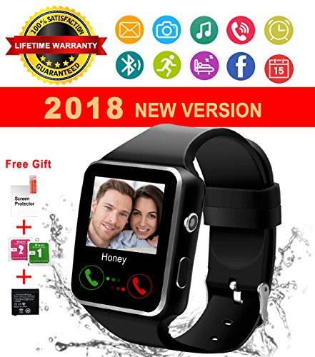 Bluetooth Smart Watch With Camera Touch Screen Smartwatch Unlocked Phone Smart Wrist Watch With Sim Card Slot Sports Watch For Android Smartphone Samsung IOS Apple Iphone 6 7 8 X Sony Men Women Kids by IFUNDA
