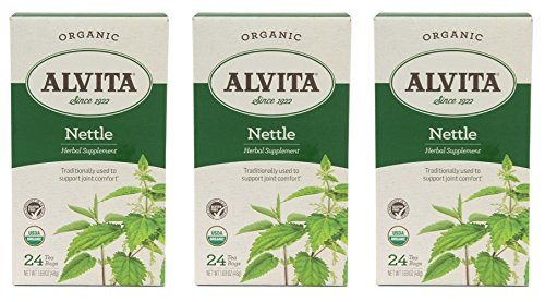 Alvita Organic Herbal Tea Caffeine Free Nettle -- 24 Tea Bags (Three Boxes each of 24 Tea Bags)