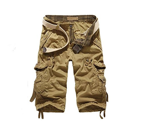 Henraly Streetwear 29-40 Fashion Cargo Pants Men Casual Loose Men Jeans Pants Summer Style Knee Length Trousers Men Khaki 29 ()