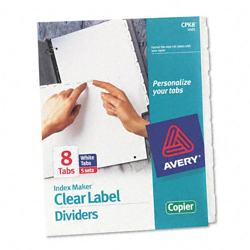 Avery 11422 Print/Apply Clear Label Dividers, White, 8-Tab Set, Letter, 5 Sets by AVERY