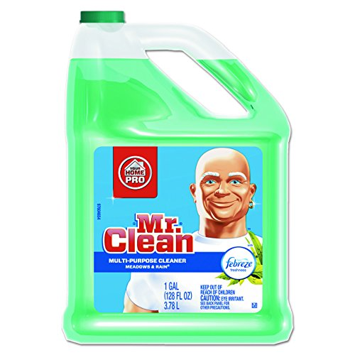 Mr. Clean Multipurpose Cleaning Solution with Febreze, 128 oz. Capacity Bottle, Meadows and Rain - Floor Soap
