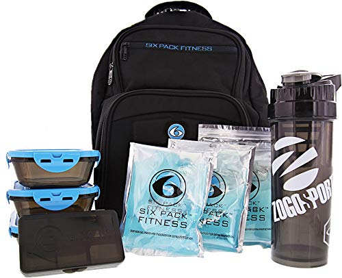 6 Pack Fitness Expedition Backpack W/Removable Meal Management System 300 Black/Neon Blue w/Bonus ZogoSportz Cyclone Shaker