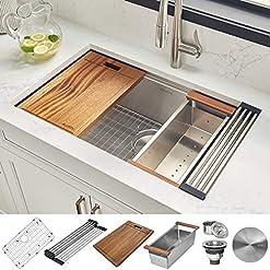 Kitchen Ruvati 32-inch Workstation Ledge Undermount 16 Gauge Stainless Steel Kitchen Sink Single Bowl – RVH8300 modern kitchen sinks
