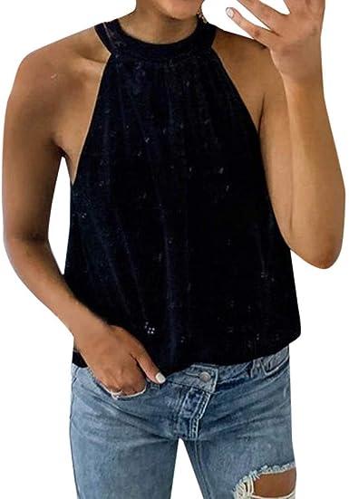 Chaleco de Terciopelo Top Cuello Alto Camisa Halter Blusa de sin Tirantes Sexy Moda Sin Mangas Tops Gusspower: Amazon.es: Ropa y accesorios