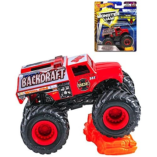Backdraft Hot Wheels Monster Jam with Re-Crushable Car free