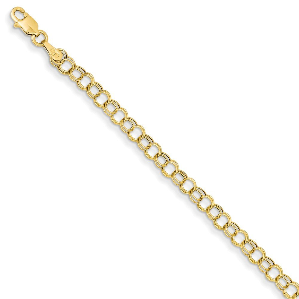14k Yellow Gold Double Link Charm Bracelet 8 Inch Fine Jewelry Gifts For Women For Her by ICE CARATS