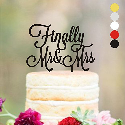 "Cake topper Wedding, Cake toppers, Finally Mr&Mrs, Wedding Dacorations, Wedding Decor, Gold Wediing Anniversary Cake Toppers, Finally Mr and Mrs, HappyPlywood (width 5"", silver mirror)"