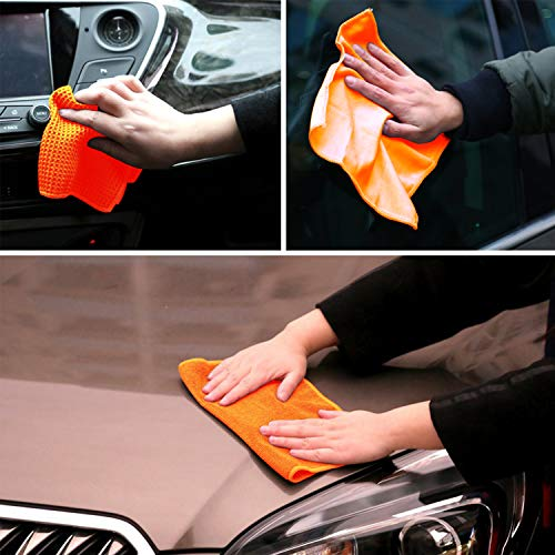 MEYUEWAL Car Cleaning Tools Kit, Microfiber Car Cleaning Set for Cars, Trucks, Motorcycles, Bedroom and Kitchen, with Tire Brush, Wash Mitts, Sponge, Wash Pads, Multi-Purpose Cleaning Towels