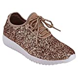 Forever Link Remy18 Rose Gold Lace Up Rock Glitter Fashion Sneaker W Elastic Tongue & White Outsole -7.5 | amazon.com