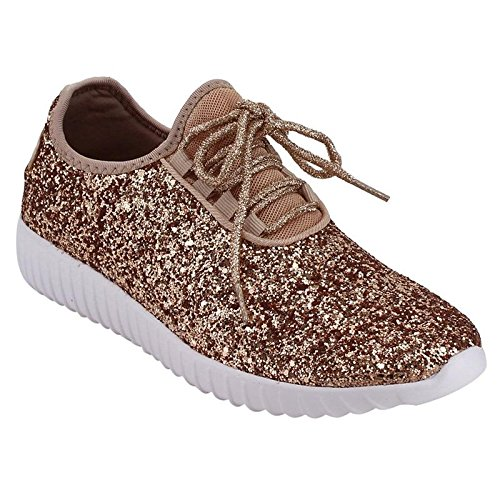Forever Link Women's Remy-18 Glitter Sneakers | Fashion Sneakers | Sparkly Shoes for Women | Rosegold 9 -