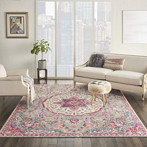 - Nourison Passion PSN22 Grey/Multi Traditional Persian, Vintage Area Rug 8'X 10'