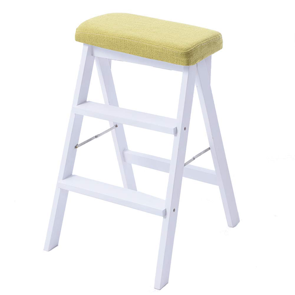 Matcha Comfortable Lounge Chair Three-Step Solid Wood Step Stool, Indoor Folding Ladder, Space-Saving Indoor Multi-Purpose Ladder Chair Dual-use Ascending Stair Stool (color   Light bluee) (color   Matcha)