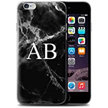 Personalized Marble Case for Apple iPhone 6 / Jade Black Monogram Design / Name/Initial Custom DIY Cover