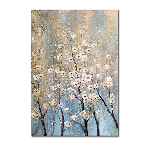 FLY SPRAY 1-Piece 100% Hand Painted Oil Paintings Canvas Wall Art Tree Flowers Gold ()