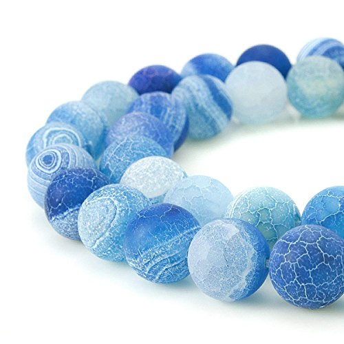 8mm Sky Blue Frosted Agate Beads Round Loose Gemstone Beads for Jewelry Making Strand 15 inch (47-50pcs)