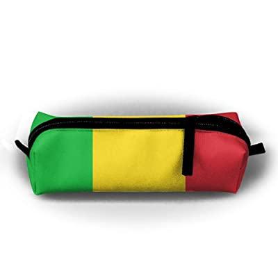 Mali Flag Striped Pen Pencil Stationery Bag Makeup Case Travel Cosmetic Brush Accessories Toiletries Pouch Bags Zipper Resistance Carry Handle Power Lines Hanging Handbag Documents