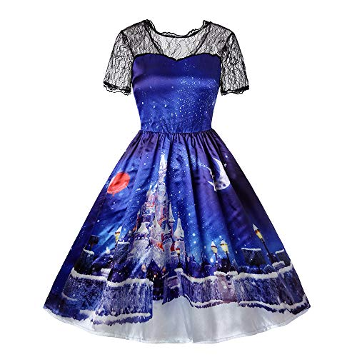 TOTOD Party Dress Christmas Women Lace Patchwork Dresses Xmas Printing Vintage Knee-Length Gown Dress,6 Patterns for $<!--$7.29-->