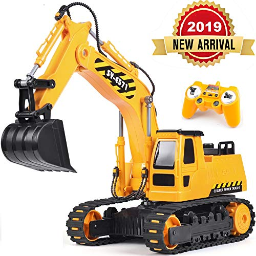 DOUBLE  E Remote Control Truck RC Excavator Toy with Rechargeable Battery Lights and Sounds 2.4GHz Construction Vehicles Tractor 1/26