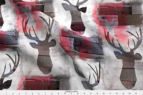 Spoonflower White Painted Deer Fabric - White Painted Deer Deer Antlers Weathered Wood Christmas Deer Deer Silhouette Woodland Lodge - by Karismithdesigns Printed on Minky Fabric by The Yard