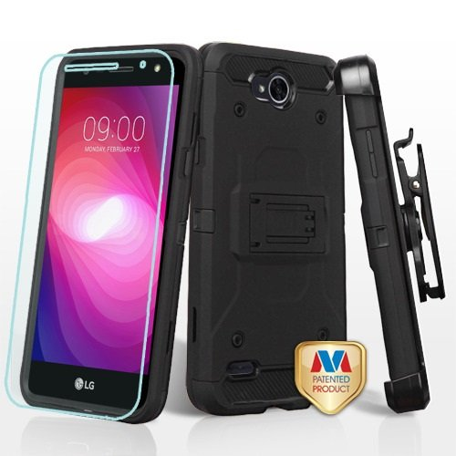- ShopAegis - [COMBO PACKAGE] 3 in 1 [Black/Black] Ultimate Shockproof Holster Temp Glass Cover Case for LG [X Power 2] [Fiesta] [X Charge]