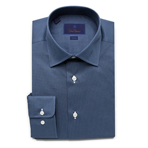 David Donahue Men's Trim Fit Micro Dot Printed Dress Shirt, Navy, 15.5