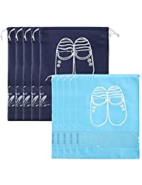 kilofly 10pc Travel Sleeve Transparent Storage Organizer Drawstring Shoe Bag Set