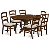 East West Furniture KEHE7-ESP-C 7 Piece Set Kenley With One 18In Leaf And Six Upholstered Seat Dinette Chairs In Espresso Finish