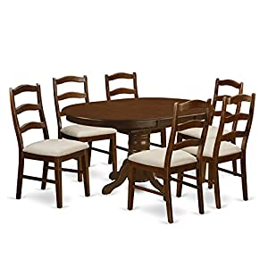 7 Pc set Kenley with a Leaf and 6Upholstered Dinette Chairs in Espresso .