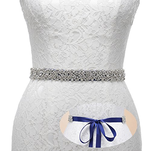 Prom Crystal Rhinestone (Remedios Handmade Dazzling Rhinestone Wedding Party Prom Sash Bridal Belt For Women,Navy)