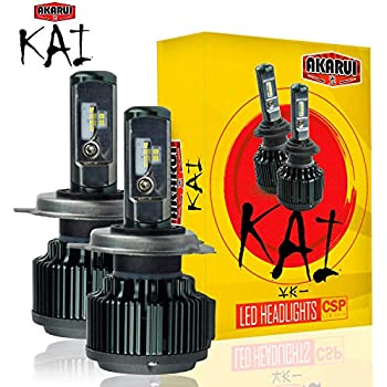KAI AKARUI LED Headlight Bulbs Conversion Kit - Single Beam - CSP LED Chip - 7000 lumens - 6K Cool White - Official Warranty - Pair (H4 (9003))