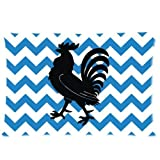 """Charming Frame - Funny Proud Rooster Art With Navy Blue and White Chevron Pattern Background Design Pillow case,Twin Sides Zippered Pillowcase Soft Rectangle Pillow Cover 20""""x 30"""" inches"""