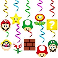 ANGOLIO 30Pcs Mario Party Swirl Decorations Hanging Spiral Decor Whirl Streamers Toy Ceiling Decorations Wario Themed…