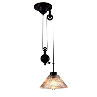 industrial pulley pendant light niuyao edison vintage retro loft industrial pulley pendant lights lamp with cone ribbed glass adjustable wire