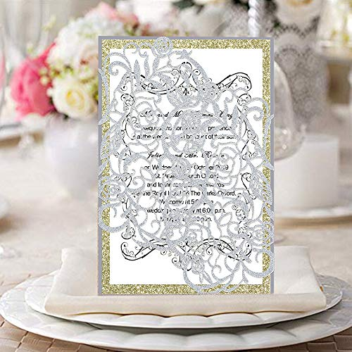 KAZIPA 25 PCs Laser Cut Wedding Invitations with envelopes Hollow Rose Invitations Cards for Wedding Bridal Shower Quinceañera Engagement Graduation Invites Silver