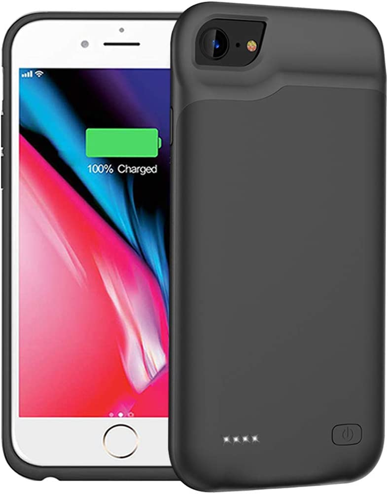 Battery Case for iPhone 7/8/6/6s/SE 2020(2nd Generation), 6000mAh Portable Protective Charging Case Compatible with iPhone SE 2020/8/7/6/6s (4.7 inch) Extended Battery Charger Case (Black)