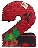 Large Number Two Pinata 23'' Tall Lumberjack Theme Party Favor