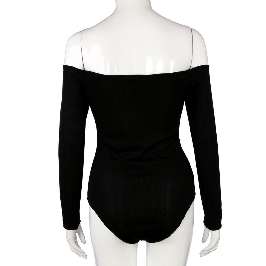 f33beda9e1 Amazon.com  Sunward Women s Plain Long Sleeves Off Shoulder Stretchy  Bodysuit Leotard Top  Clothing