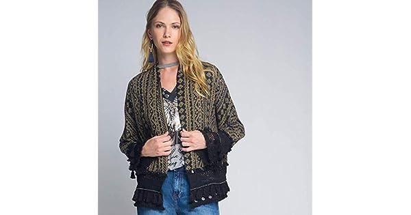 12efd7eb396 Jaqueta Luigi Bertolli Feminino Kimono Franjas Preta  Amazon.com.br  Amazon  Moda