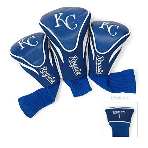 Team Golf MLB Kansas City Royals Contour Golf Club Headcovers (3 Count), Numbered 1, 3, & X, Fits Oversized Drivers, Utility, Rescue & Fairway Clubs, Velour lined for Extra Club Protection
