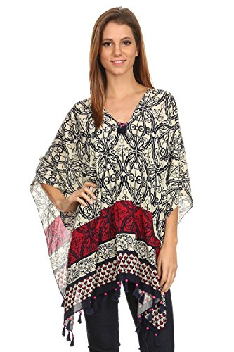 LL Womens Red Striped Patterned Pullover Poncho with Fuchsia Bead Tassels