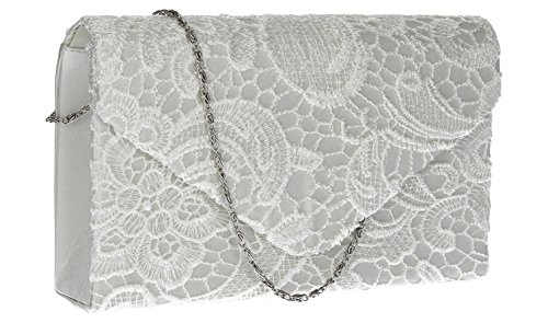 Womens Envelope Bridal Wedding Prom Silver Party White Bag Clutch Holly Lace Yw5qEXZ
