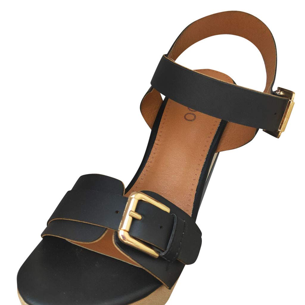 Wedge Platform Sandals for Women,FAPIZI New Comfy Soft Soles Dancing Shoes Casual Breathable Modern Sandals Black by FAPIZI Women Shoes (Image #5)